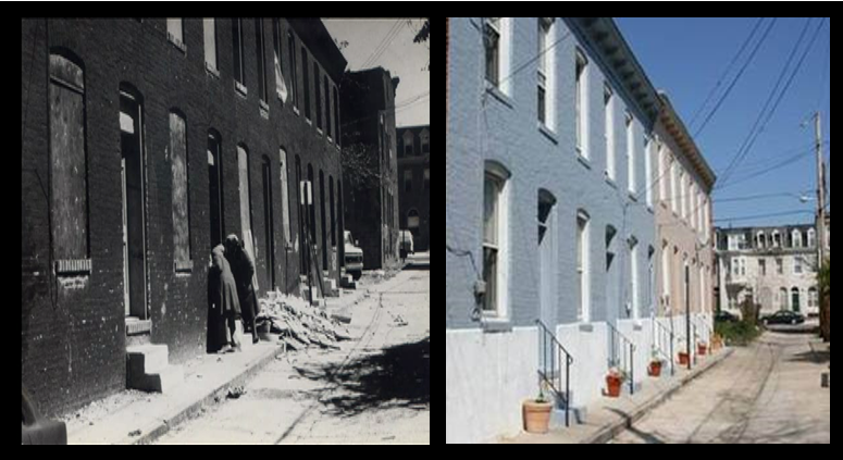 These row homes on 23rd and 1/2 St were damaged by fires in the 1968 riots. St. Ambrose repaired and renovated them to revitalize the neighborhood.