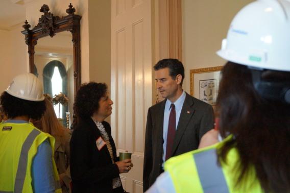 Board member Nora Vlahoyiannis with Congressman Sarbanes